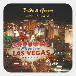 Las Vegas-Streifen-Hochzeits-Aufkleber Quadratischer Aufkleber