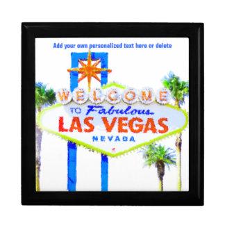 Las Vegas-Zeichen auf dem Streifen Schmuckschachtel