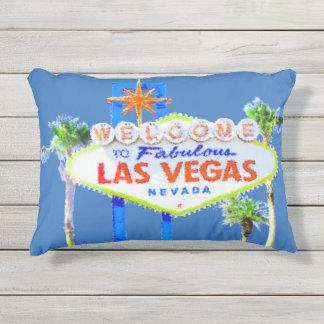 Las Vegas-Zeichen-Blau Kissen Für Draußen