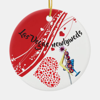 Las- Vegasjungvermählten, die Foto-Mitteilung Keramik Ornament