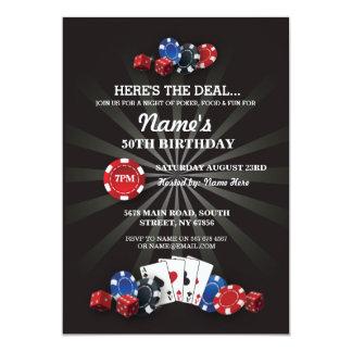 Las- Vegaskasino-Nachtgeburtstags-Party laden ein 12,7 X 17,8 Cm Einladungskarte