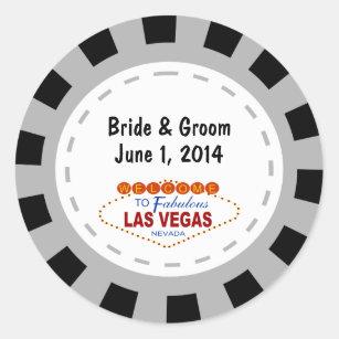 Las Vegaspoker Chip Hochzeits Aufkleber Runder Aufkleber