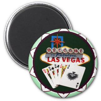 Las- Vegaszeichen u. Karten-Poker-Chip Runder Magnet 5,7 Cm
