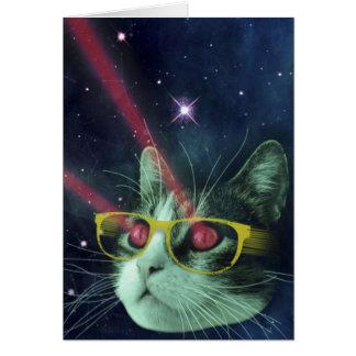 Laser-Katze mit Gläsern im Raum Grußkarte