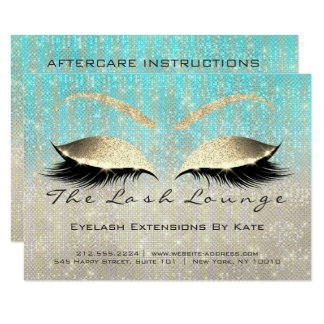 Lashes Extension Aftercare Instruction Ivory Blue Karte