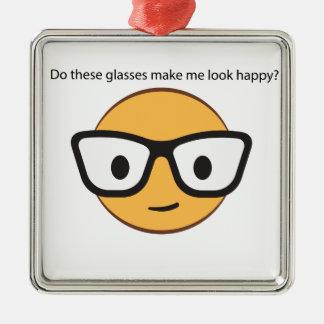 Lassen diese Gläser mich glücklich schauen? (ja!) Silbernes Ornament