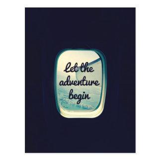 Lassen Sie das Abenteuer - Reise-Zitate anfangen Postkarte