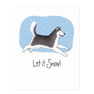 """""""Lassen Sie es schneien!"""" Netter Hundeentwurf Postkarte"""
