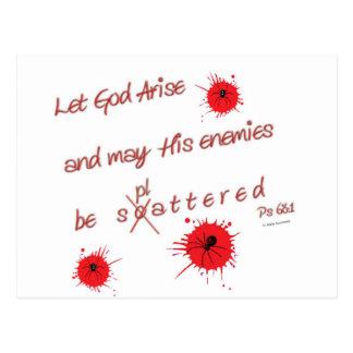 Lassen Sie Gott entstehen und kann seine Feinde Postkarte
