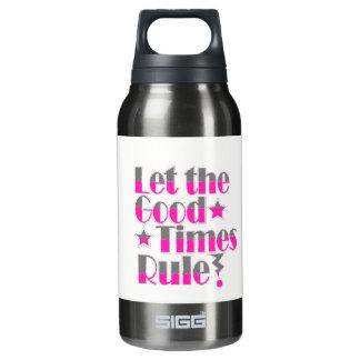 Lassen Sie gute Zeitregelbenennung im Rosa und im Isolierte Flasche