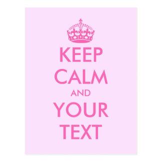 Lassen Sie Ihr eigenes Rosa ruhige Textpostkarten Postkarte