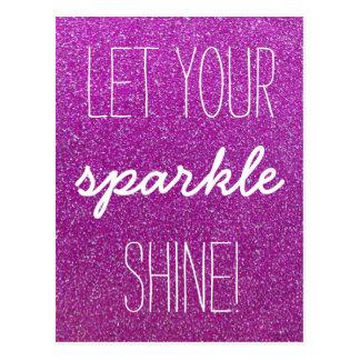 Lassen Sie Ihre Scheinshine-lila Glitter-Postkarte Postkarte