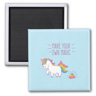 Lassen Sie Ihren eigenen magischen Unicorn Quadratischer Magnet