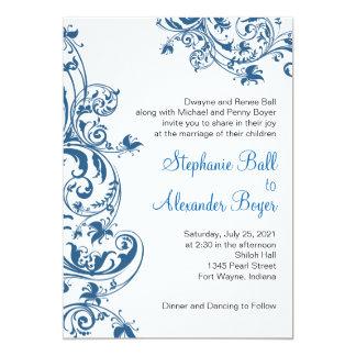 Lässige Eleganz-blaue Strudel-Hochzeits-Einladung Karte