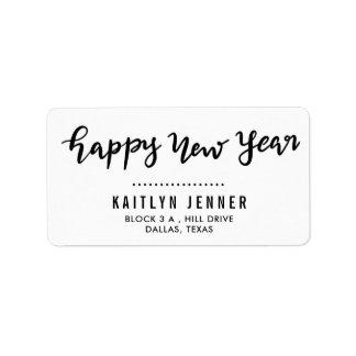 Lässiger glückliches neues Jahr-handgeschriebener Adressaufkleber