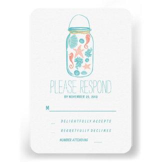 Lässiges Strandmaurerglas-Hochzeit UAWG Individuelle Ankündigskarten