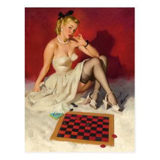 Lässt Spiel ein Spiel - Retro Pinup-Mädchen Postkarte