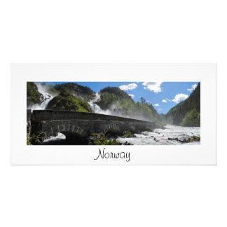 Latefossen Wasserfall in der Norwegen-Fotokarte Karte