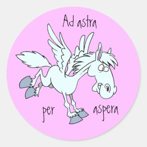 Latein: Anzeige astra pro aspera Runder Aufkleber