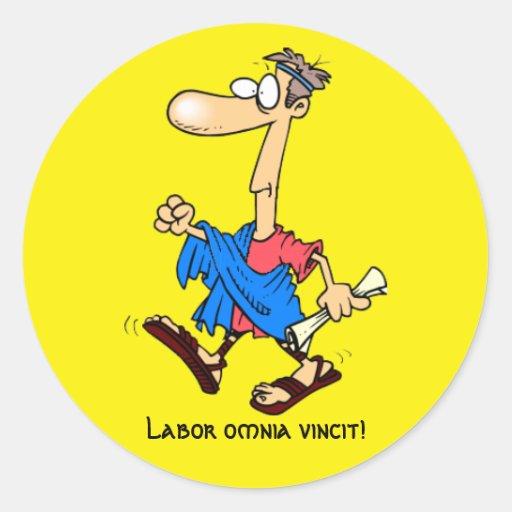 Latein: Arbeitsomnia vincit! Sticker