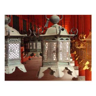 Laternen am Kasuga-taisha Schrein Postkarte