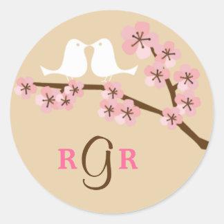 Latte u. grüne Kirschblüten-Hochzeit Runder Aufkleber