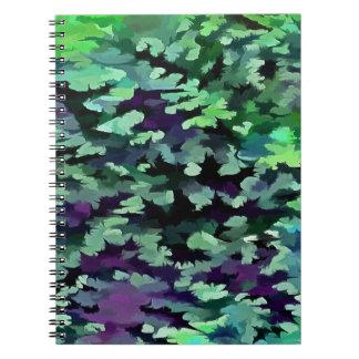 Laub-abstrakte Pop-Kunst im Jade-Grün und dem Spiral Notizblock