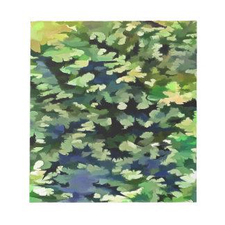 Laub-abstrakte Pop-Kunst in Grünem und im Blau Notizblock