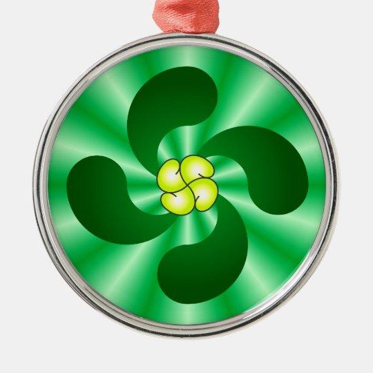 Lauburu Baskenkreuz Basque cross Rundes Silberfarbenes Ornament