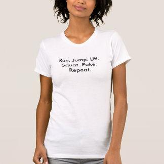 Lauf. Sprung. Aufzug. Hocke. Kotzen Sie. T-Shirt