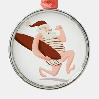 Lauf Weihnachtsmanns Surfensankt Klaus Silbernes Ornament