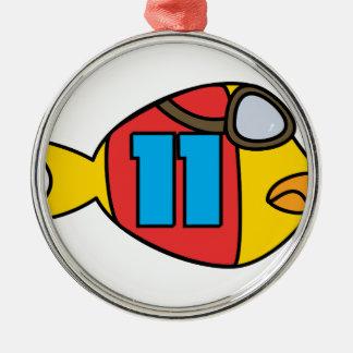 Laufen der Fische Silbernes Ornament
