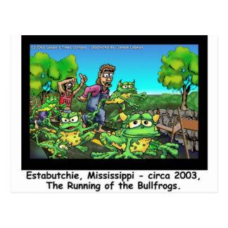 Laufen der Stier-Frosch-lustigen Geschenke/der Postkarte