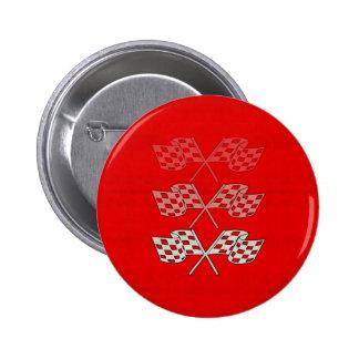 Laufen der Zielflagge Runder Button 5,7 Cm
