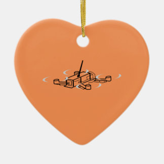 Laufen des Drohne Quadcopter Keramik Herz-Ornament