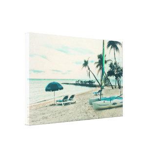 Laufen des Schlauchboots und der Sun-Stühle an Leinwanddruck