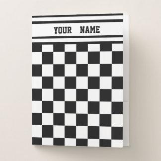 Laufen Karo Schwarz-weißes Checkered + Name Mappe