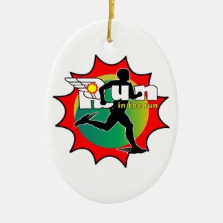 Laufen Sie in den Sun Ovales Keramik Ornament