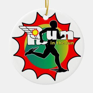 Laufen Sie in den Sun Rundes Keramik Ornament