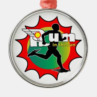 Laufen Sie in den Sun Rundes Silberfarbenes Ornament