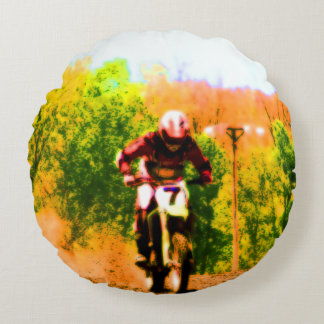 Laufen von Dirtbike Draufgänger Rundes Kissen