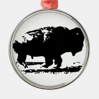 Laufende Büffel-Bison-Pop-Kunst Silbernes Ornament