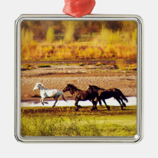 Laufende Pferde Quadratisches Silberfarbenes Ornament