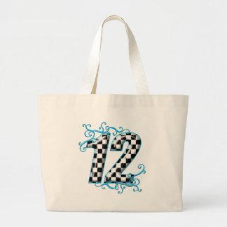 Laufende Zahl 12 des blauen Auto Einkaufstasche