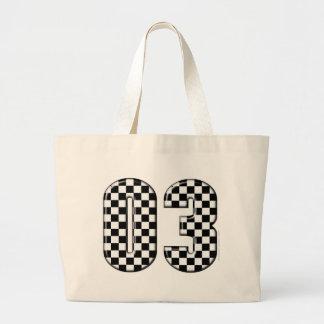 laufende Zahl des checkered Auto 03 Jumbo Stoffbeutel