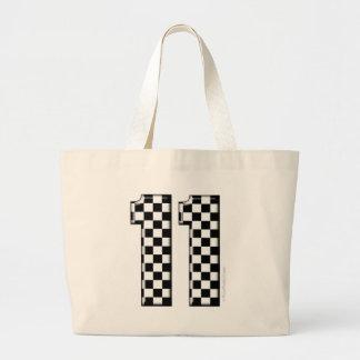 laufende Zahl des checkered Auto 11 Jumbo Stoffbeutel