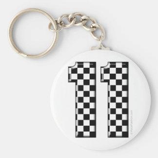 laufende Zahl des checkered Auto 11 Schlüsselanhänger
