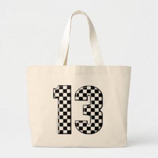 laufende Zahl des checkered Auto 13 Jumbo Stoffbeutel