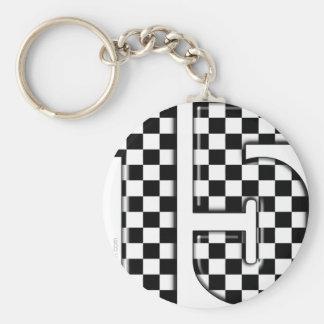 laufende Zahl des checkered Auto 15 Schlüsselanhänger