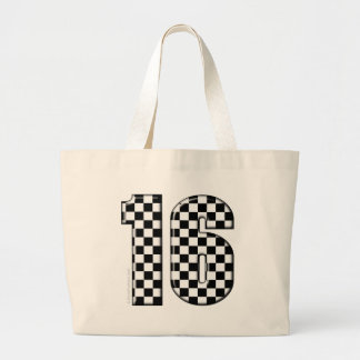 laufende Zahl des checkered Auto 16 Jumbo Stoffbeutel
